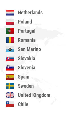 Montenegro, Netherlands, Norway, Poland, Portugal, Romania, San Marino, Slovakia, Slovenia, Spain, Sweden, United Kingdom